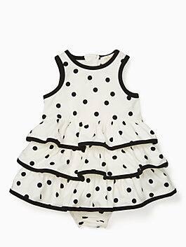 babies' tiered ruffle dress set, french cream/ black, medium