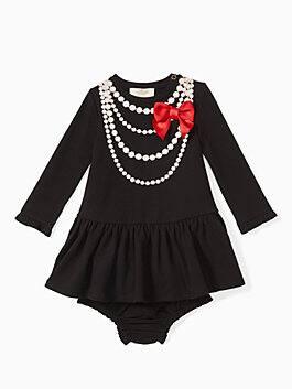 babies' pearl necklace dress set, black, medium