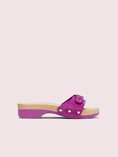 dr. scholl's x kate spade new york suede slide sandal, berry, large by kate spade new york