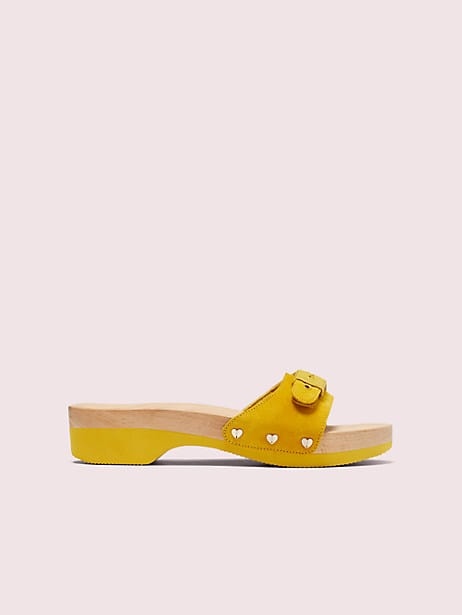 dr. scholl's x kate spade new york suede slide sandal, golden curry, large by kate spade new york