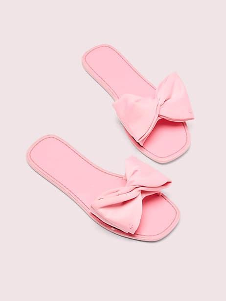 bikini bow slide sandals, neon pink, large by kate spade new york
