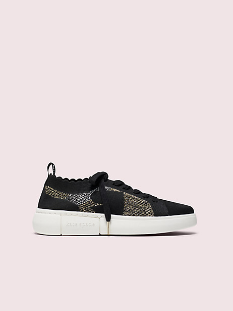 sky knit spade sneakers, black, large by kate spade new york