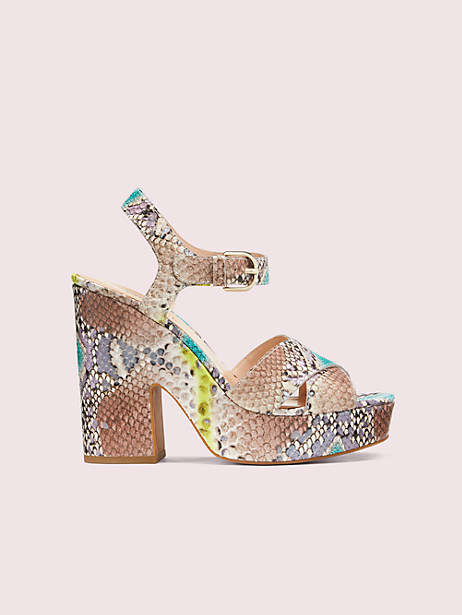 grace platform sandals, lemon sorbet, large by kate spade new york