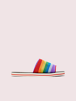 rainbow intarsia-knit slide sandals by kate spade new york hover view