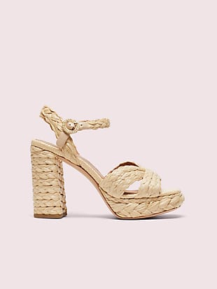 disco raffia platform sandals by kate spade new york non-hover view