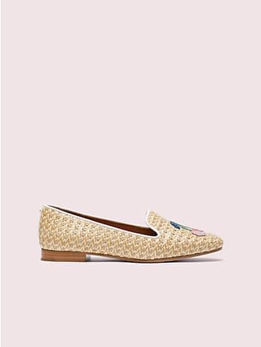 Lounge Loafer aus Raffiabast mit Kirschstickerei, , rr_productgrid