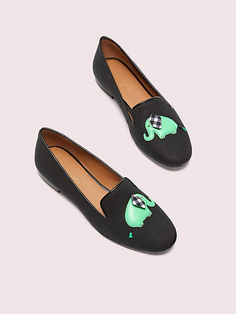 lounge elephant loafers, black, large by kate spade new york