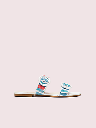 marine striped raffia slide sandals by kate spade new york hover view