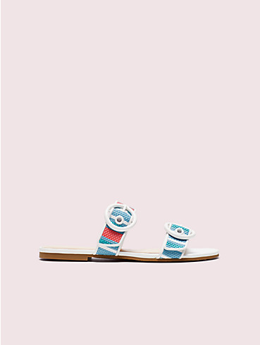marine striped raffia slide sandals, , rr_productgrid