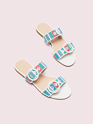 marine striped raffia slide sandals by kate spade new york non-hover view