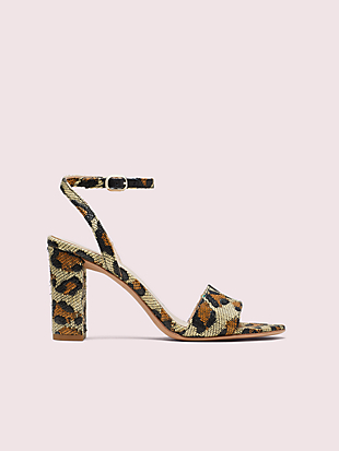 odele leopard raffia sandals by kate spade new york non-hover view