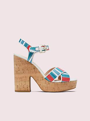 grace striped raffia platform sandals by kate spade new york hover view