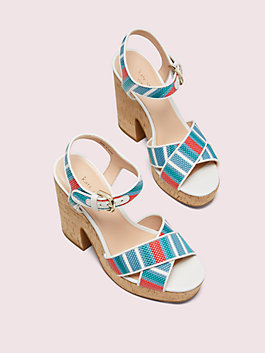 grace striped raffia platform sandals, blue multi, medium