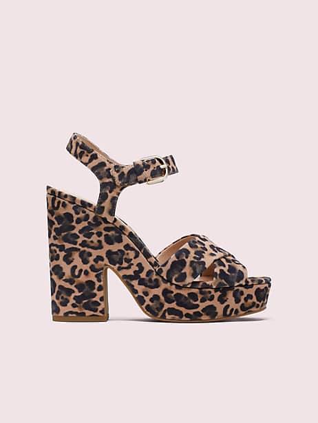 grace leopard platform sandals, tawny multi, large by kate spade new york