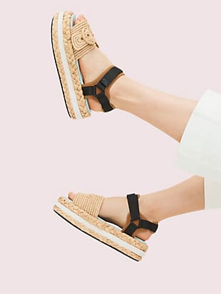 acapulco raffia flatform sandals by kate spade new york hover view