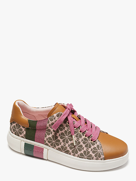 spade flower jacquard keswick sneakers, light pink/hibiscus tea, large by kate spade new york