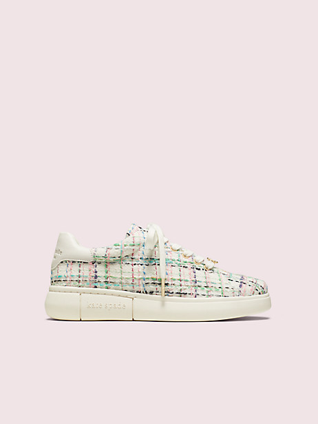 lift plaid tweed sneakers, fresh white multi, large by kate spade new york