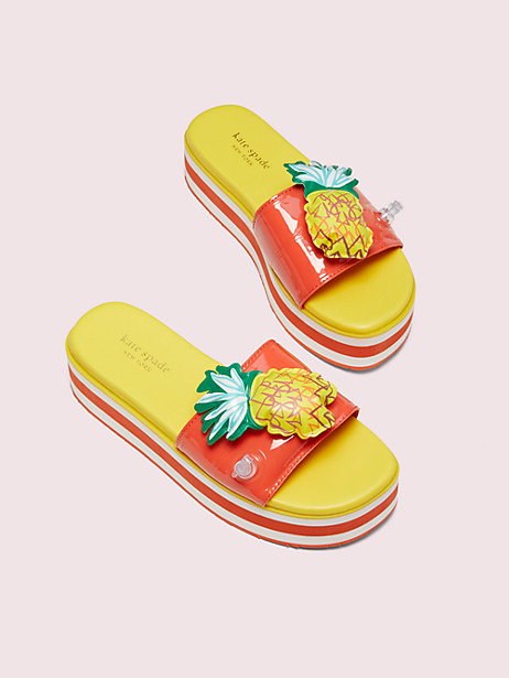platform slide sandals, pineapple, large by kate spade new york