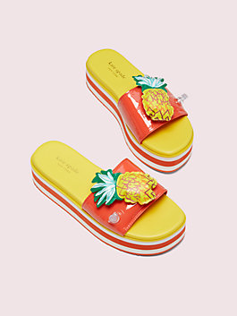 platform slide sandals, pineapple, medium