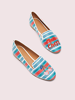 lounge cherries striped raffia loafers, blue multi, medium
