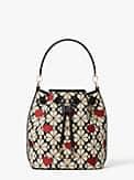 spade flower jacquard hearts medium bucket bag, , s7productThumbnail