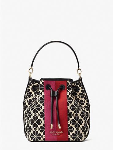 spade flower jacquard stripe medium bucket bag, , rr_productgrid