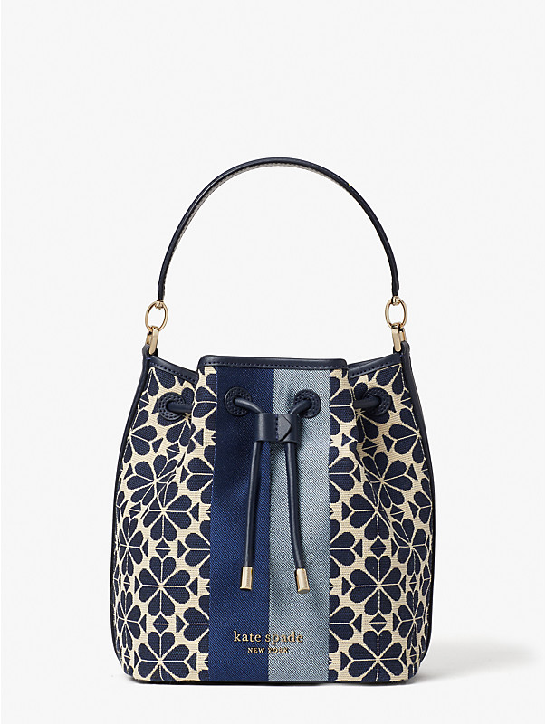 spade flower jacquard stripe medium bucket bag, , rr_large