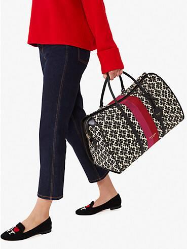 spade flower jacquard stripe large weekender bag, , rr_productgrid