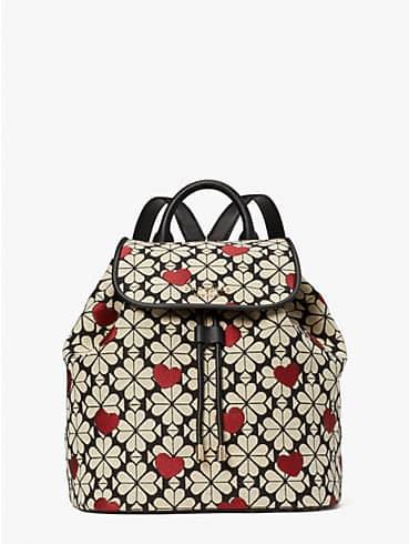 spade flower jacquard hearts medium flap backpack, , rr_productgrid