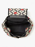 spade flower jacquard hearts medium flap backpack, , s7productThumbnail