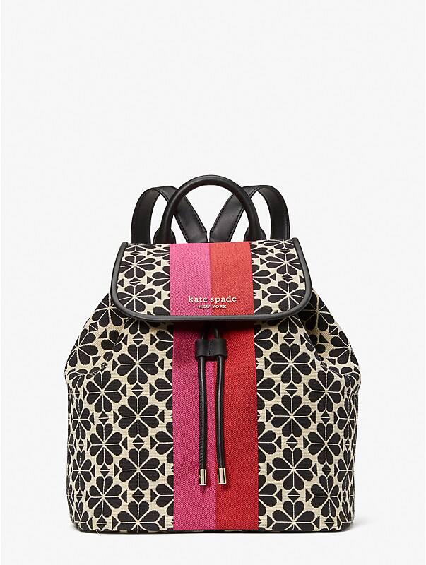spade flower jacquard stripe sinch medium flap backpack, , rr_large