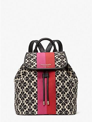 spade flower jacquard stripe sinch medium flap backpack, , rr_productgrid