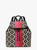 spade flower jacquard stripe sinch medium flap backpack, , s7productThumbnail