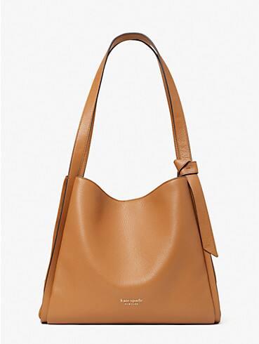 knott pebbled leather & suede large shoulder bag, , rr_productgrid
