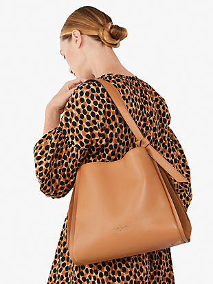 knott pebbled leather & suede large shoulder bag by kate spade new york hover view
