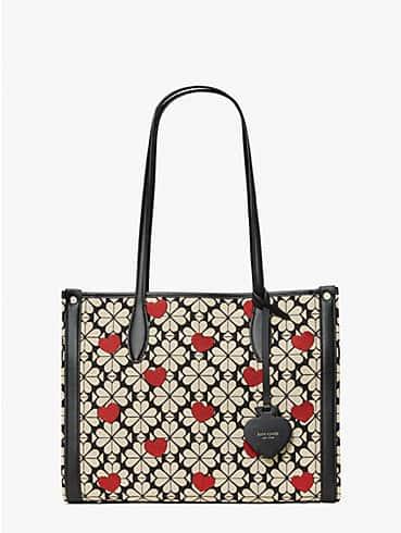 Spade Flower Hearts Market Tote Bag aus Jacquard, mittelgroß, , rr_productgrid