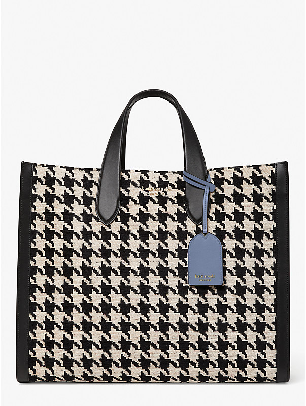 manhattan houndstooth large tote, , rr_large