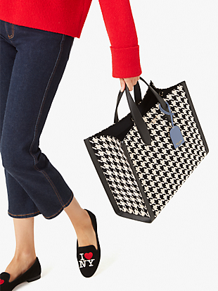 manhattan houndstooth large tote by kate spade new york hover view