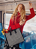 manhattan houndstooth large tote, , s7productThumbnail