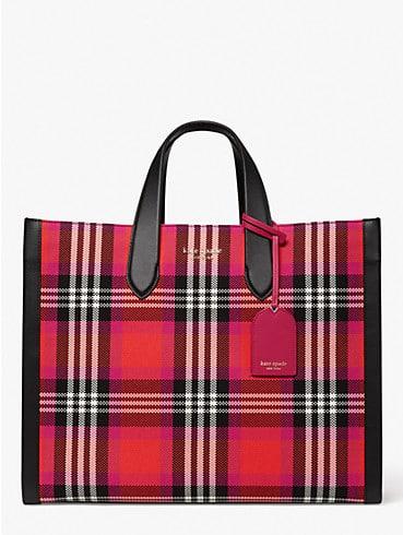 Manhattan Foliage Plaid Tote Bag, , rr_productgrid