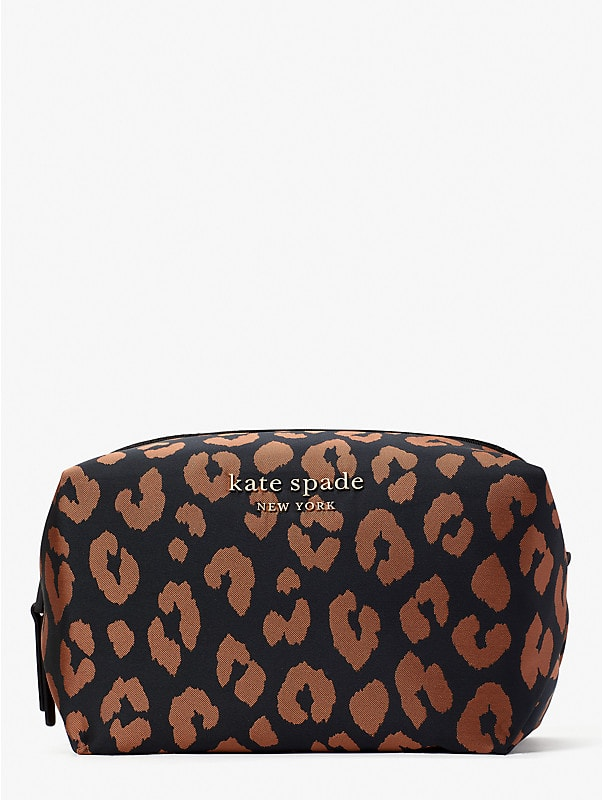 the little better everything puffy leopard jacquard large cosmetic case, , rr_large