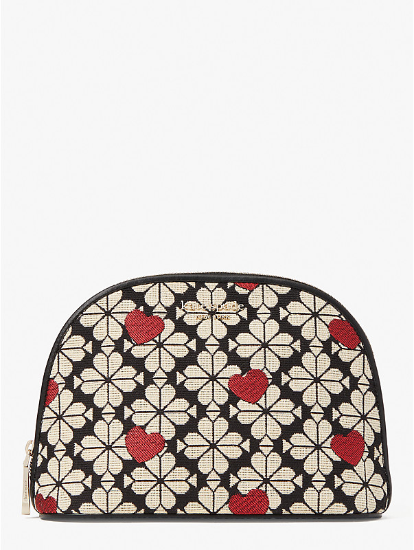 spade flower jacquard hearts large dome cosmetic case, , rr_large