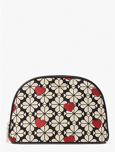 spade flower jacquard hearts large dome cosmetic case, , rr_productgrid