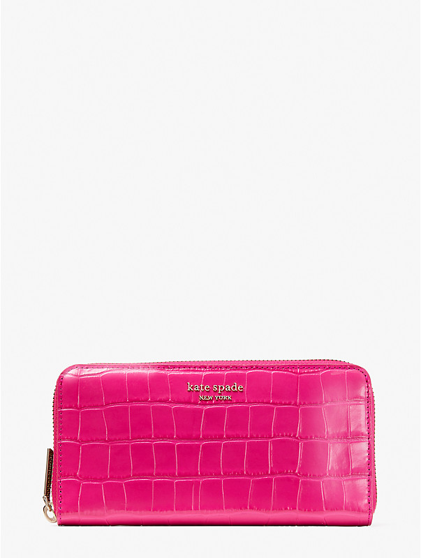 spencer croc-embossed leather zip-around continental wallet, , rr_large