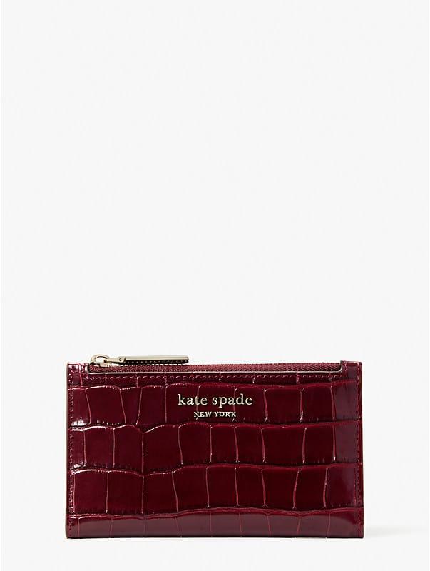 Spencer Klapp-Portemonnaie aus Leder mit Krokoprägung, schmal, klein, , rr_large