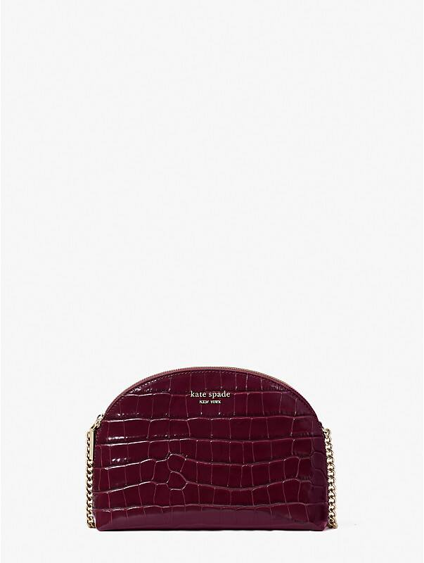 spencer croc-embossed leather double-zip dome crossbody, , rr_large