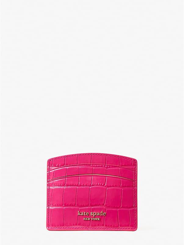 spencer croc-embossed leather cardholder, , rr_large
