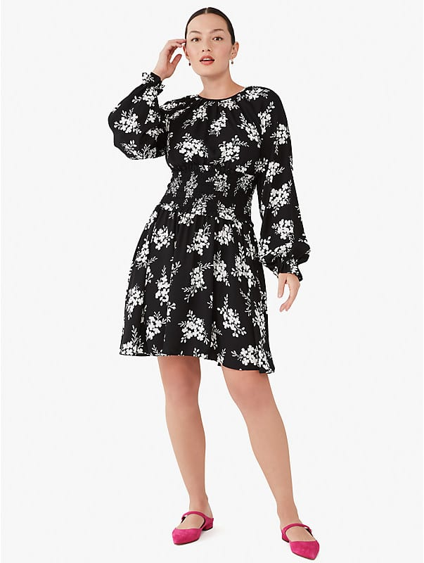 floral clusters fit-and-flare dress, , rr_large