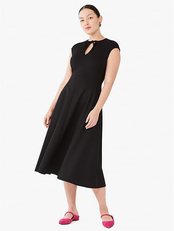 ponte tie keyhole-neck dress, , rr_large