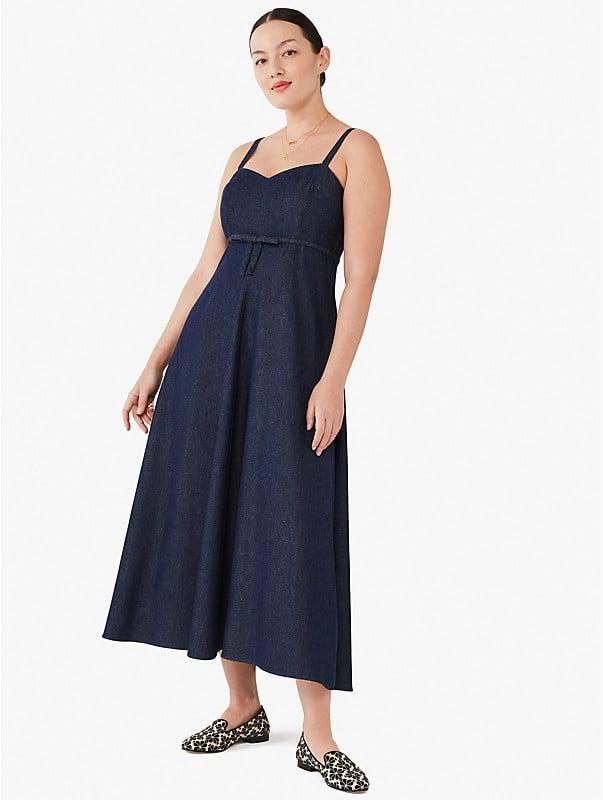 denim bow-waist dress, , rr_large